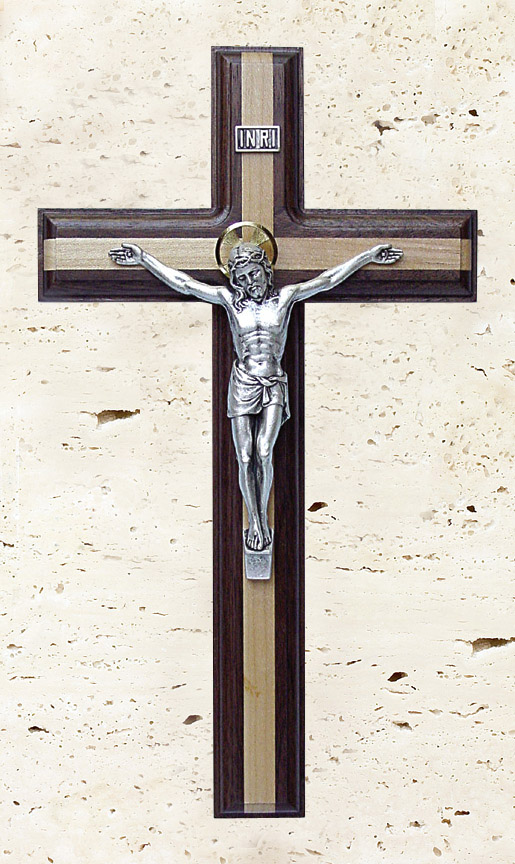11In. Walnut Crucifix With Maple Inlay