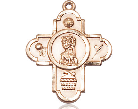 14kt Gold 5-Way St Christopher Sports Medal