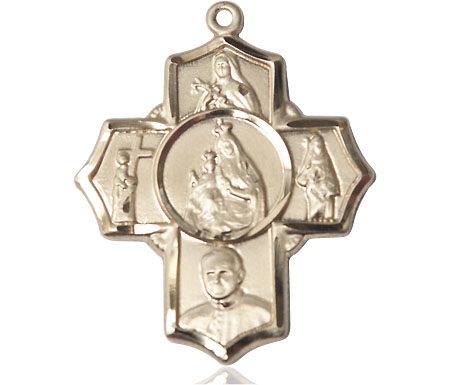 14kt Gold Carmelite 4-Way Medal