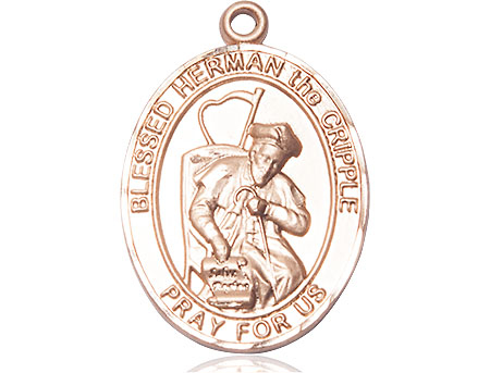 14kt Gold Blessed Herman the Cripple Medal