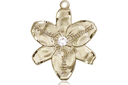 14kt Gold Chastity Medal with a 3mm Crystal Swarovski stone
