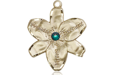 14kt Gold Chastity Medal with a 3mm Emerald Swarovski stone