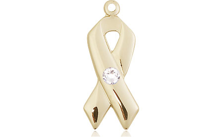14kt Gold Cancer Awareness Medal with a 3mm Crystal Swarovski stone
