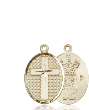 14kt Gold Cross Air Force Medal