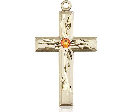 14kt Gold Cross Medal with a 3mm Topaz Swarovski stone