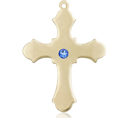 14kt Gold Cross Medal with a 3mm Sapphire Swarovski stone