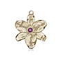 14kt Gold Chastity Medal with a 3mm Amethyst Swarovski stone