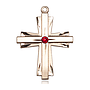 14kt Gold Cross Medal with a 3mm Ruby Swarovski stone