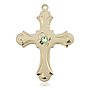 14kt Gold Cross Medal with a 3mm Peridot Swarovski stone