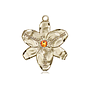 14kt Gold Chastity Medal with a 3mm Topaz Swarovski stone
