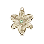 14kt Gold Chastity Medal with a 3mm Peridot Swarovski stone