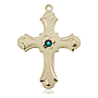 14kt Gold Cross Medal with a 3mm Emerald Swarovski stone