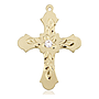 14kt Gold Cross Medal with a 3mm Crystal Swarovski stone